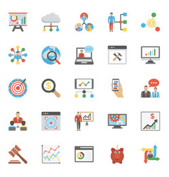 set of project management and analysis flat icons vector image