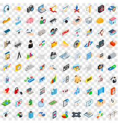 100 internet icons set isometric 3d style vector