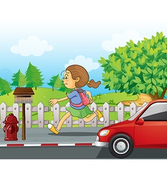 A girl running in the street vector image