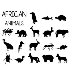 African animal silhouettes set icons in flat vector