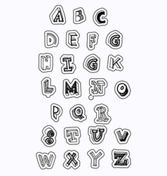 Alphabet sticker with cut line free vector