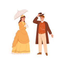 American man and woman of 19th century noble vector