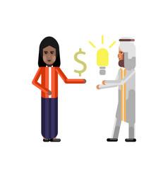 arabic businessman holding idea light bulb vector image