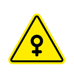 Attention woman female sign on yellow triangle vector