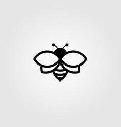 Bee logo line art in black color vintage design vector