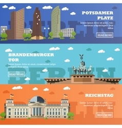 Berlin tourist landmark banners vector image