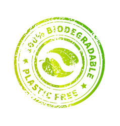 biodegradable icon bright green plastic free vector image