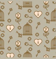 bird cage romantic seamless pattern vector image
