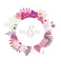 Boho wreath with watercolor dry pink flowers vector