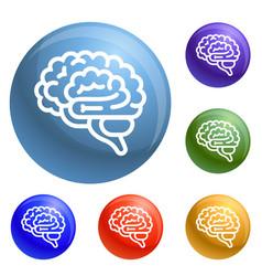Brain icons set vector