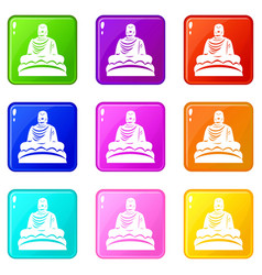 Buddha statue icons 9 set vector