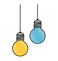 Bulbs light hanging icon vector