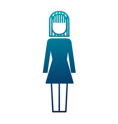 Business woman standing character ico vector