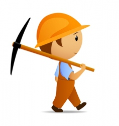 cartoon digger with pick vector image