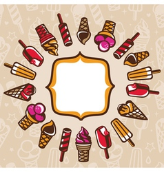 Cartoon frame with copy space and ice cream vector