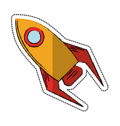 Cartoon rocket startup launch icon vector