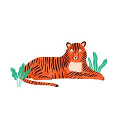 Childish portrait relaxed tiger in scandinavian vector