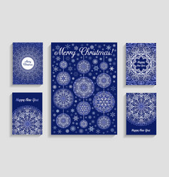 Christmas cards with mandala snowflakes on blue vector
