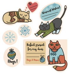 Christmas cats in sweaters stickers for presents vector image