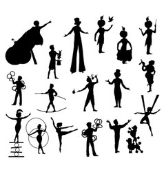 Circus performers black silhouettes artists vector