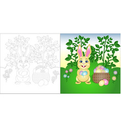 coloring page easter bunny on the lawn vector image