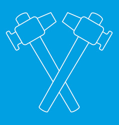 Crossed blacksmith hammer icon outline vector