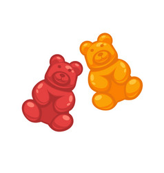 Different colored jelly bears vector