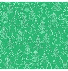 Doodle Christmas trees seamless pattern background vector