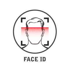 Face id scan icon - facial scanner for smart vector