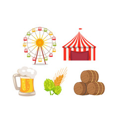 five icons at oktoberfest vector image