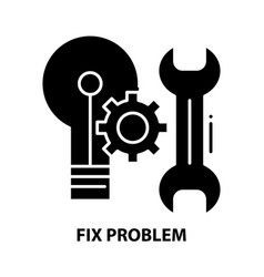 Fix problem icon black sign with editable vector