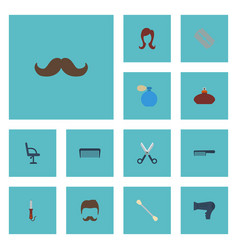 Flat icons whiskers cotton buds female and other vector