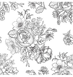 Floral engraved seamless pattern flower garden vector