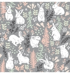 Floral pattern with white hares vector