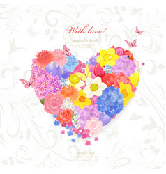 floral valentine from different spring flowers vector image vector image
