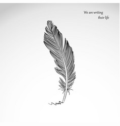 freehand drawing of dark bird feather isolated on vector image