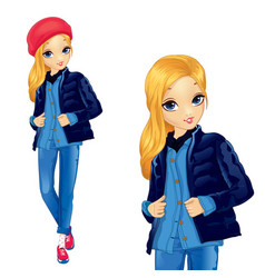 Girl in denim suit with red hat vector