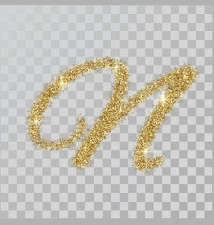 gold glitter powder letter n in hand painted style vector image