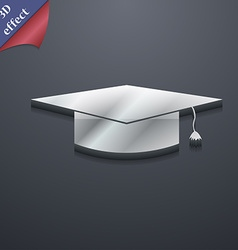 Graduation cap icon symbol 3D style Trendy modern vector image