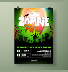 Halloween zombie party flyer with vector