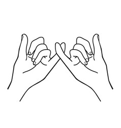 hands making a promise outline vector image