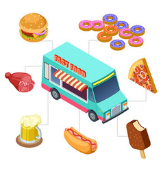Isometric fast food truck burger donuts beer vector