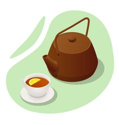 isometric iron teapot cup tea and lemon vector image