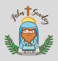 jesus with palm branches and cross catholic vector image