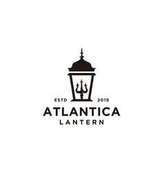 Lantern post with trident logo design vector