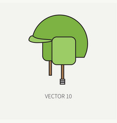 Line flat color military icon - army helmet vector