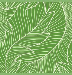 Linear engraving banana leaves seamless pattern vector