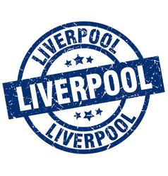 Liverpool blue round grunge stamp vector