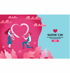 lovers together paint a heart shapevalentine s vector image