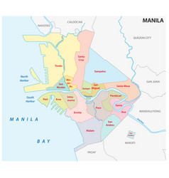 Manila administrative and political map vector